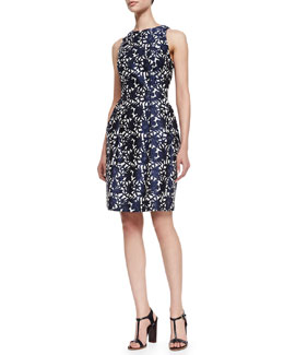 Kay Unger New York Floral Jacquard Cocktail Dress