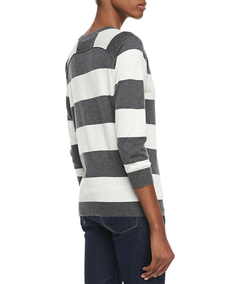 Bronx Striped 3/4-Sleeve Sweater