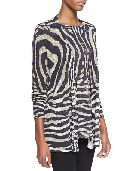 Tiger-Print Linen-Blend Open Cardigan