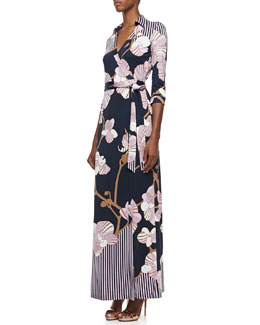 Diane von Furstenberg Abigail Orchid-Print Three-Quarter Sleeve Maxi Wrap Dress