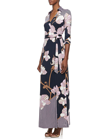 Abigail Orchid-Print Three-Quarter Sleeve Maxi Wrap Dress