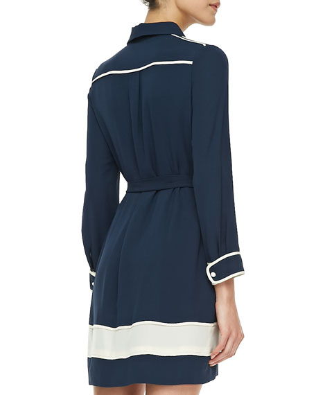 Two-Tone Tie-Waist Shirtdress