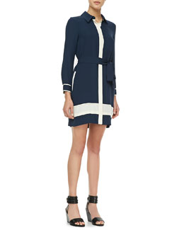 Diane von Furstenberg Two-Tone Tie-Waist Shirtdress
