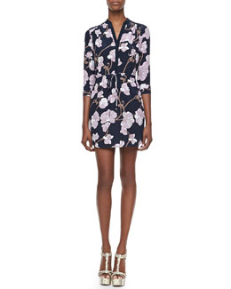 Diane von Furstenberg Freya Orchid Print Mini Dress
