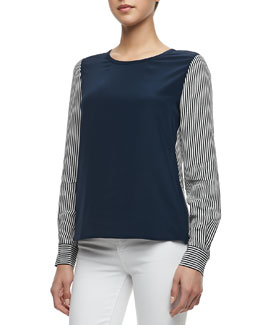 Diane von Furstenberg Louisa Striped Colorblock Blouse