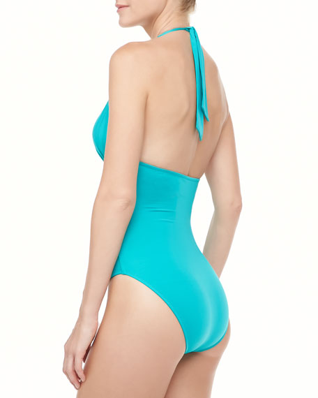 Zulu Halter One-Piece Swimsuit, Emerald Green