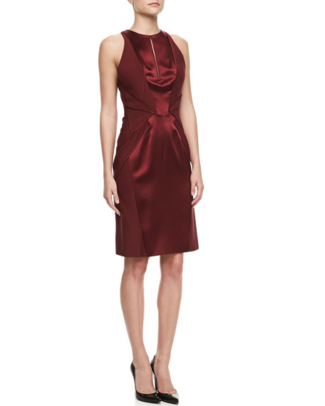 Sleeveless Silk Sheath Dress, Merlot