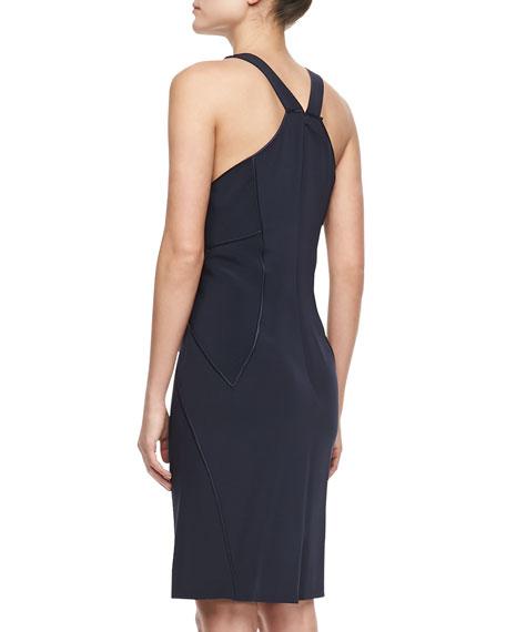 Crepe W/Matte Piping Sleeveless Dress