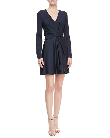 Faille Front-Twist V-Neck Dress, Navy