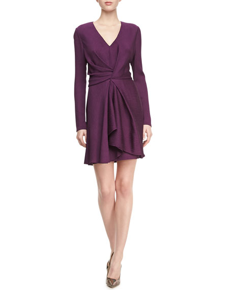 Faille Front-Twist V-Neck Dress, Petunia