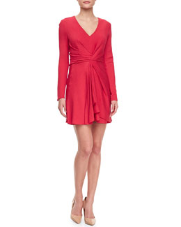 J. Mendel Faille Front-Twist V-Neck Dress, Raspberry