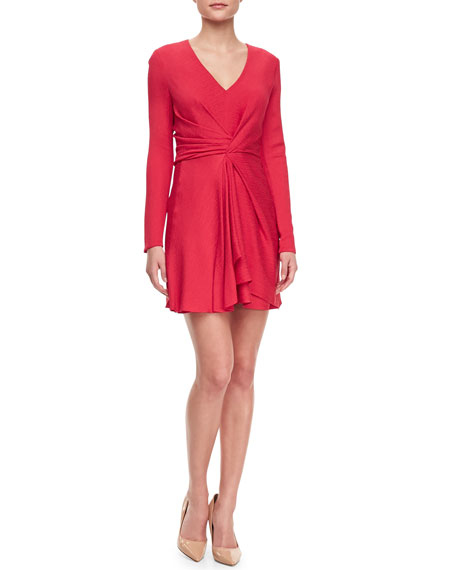 Faille Front-Twist V-Neck Dress, Raspberry
