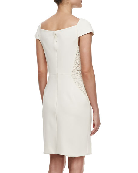 Off-the-Shoulder Dress with Lace, Ivory