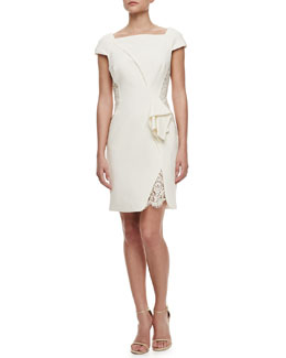 J. Mendel Off-the-Shoulder Dress with Lace, Ivory