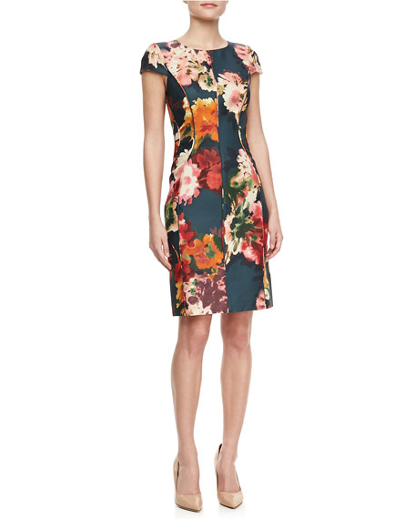 Floral-Print Cap-Sleeve Sheath Dress