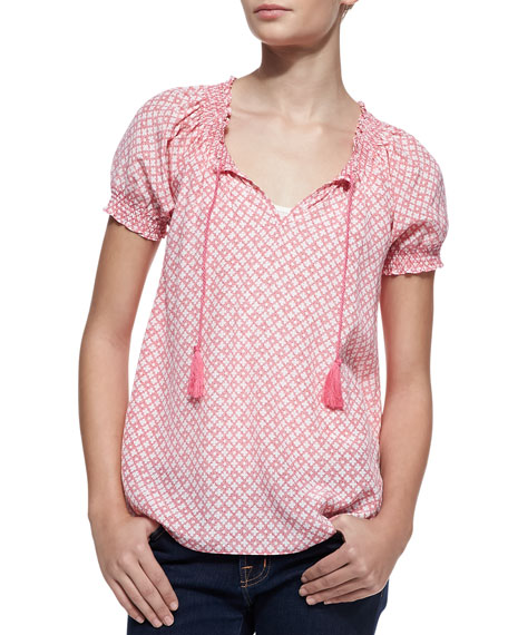 Masha Silk Short-Sleeve Blouse, Candy Red