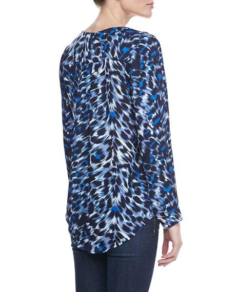 Don Leopard-Print Popover Blouse