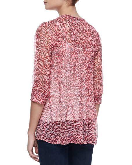Laurel Silk Half-Sleeve Blouse, Candy Red