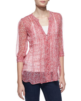 Joie Laurel Silk Half-Sleeve Blouse, Candy Red