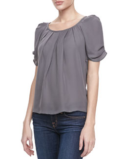 Joie Eleanor Pleated Puff Blouse