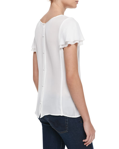Enzo Button-Down Back Blouse, Porcelain