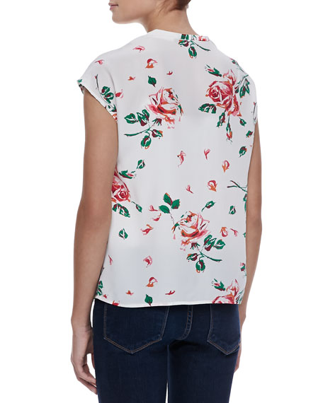 Suela Silk Rose-Print Blouse