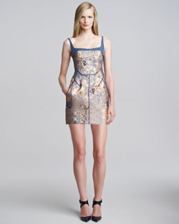 J. Mendel Sleeveless Metallic Cloque Minidress