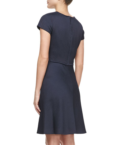 Short-Sleeve Asymmetric Ruched Dress