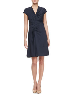 J. Mendel Short-Sleeve Asymmetric Ruched Dress