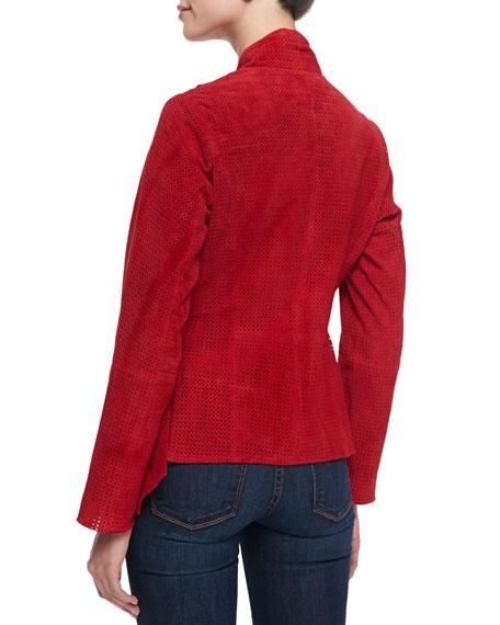 Suede Laser-Cut Tie-Waist Jacket