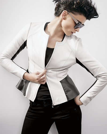 Long Sleeve Black/White Motorcycle Jacket