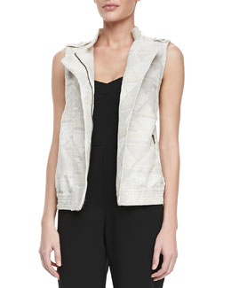 12th Street by Cynthia Vincent Jacquard-Print Brocade Zip-Front Vest