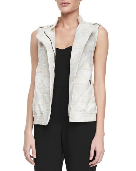 Jacquard-Print Brocade Zip-Front Vest