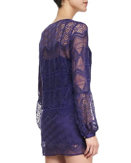 Long-Sleeve Lace Shirtdress