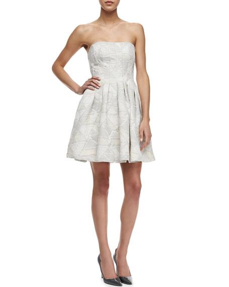 Pleated Strapless Mini Dress