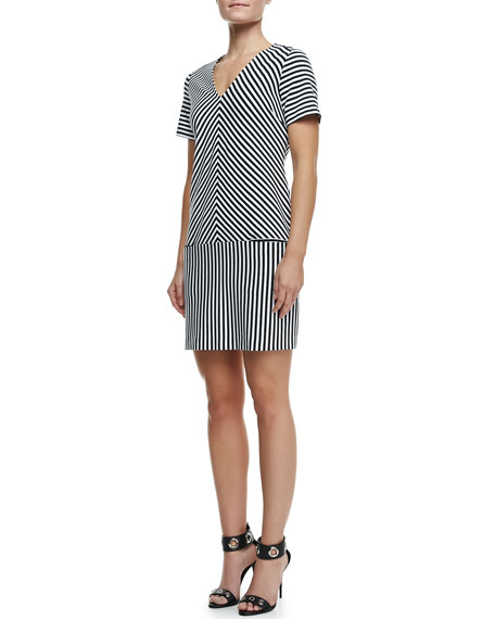 Mara Striped-Print Short-Sleeve Dress