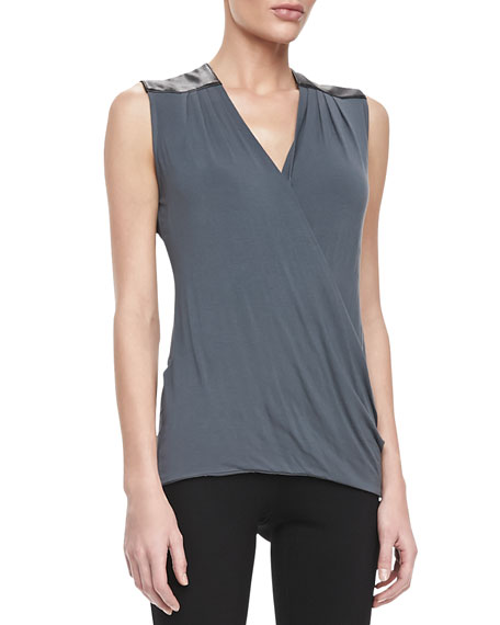 Twist & Turn Sleeveless Leather-Trim Top