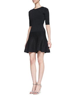 Herve Leger Three-Quarter Sleeve Flutter-Skirt Dress