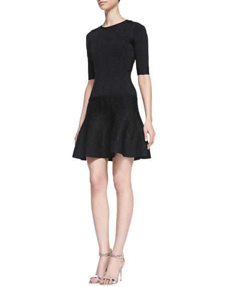 Three-Quarter Sleeve Flutter-Skirt Dress