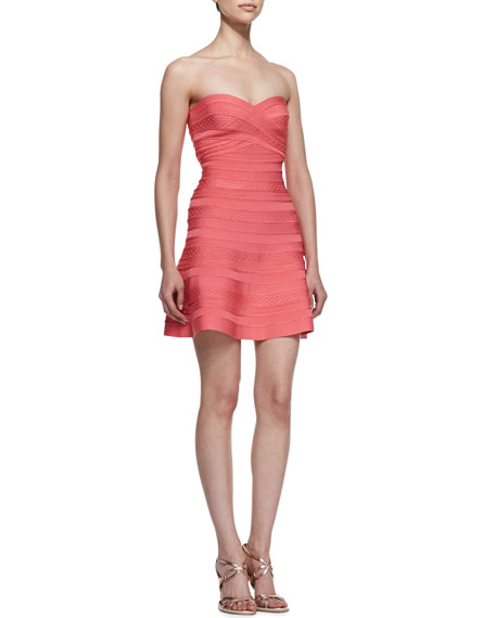 Strapless Bandage A-Line Dress, Hibiscus