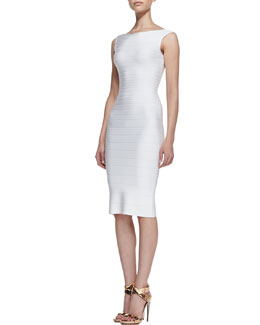 Herve Leger Boat-Neck Bandage Dress, Alabaster