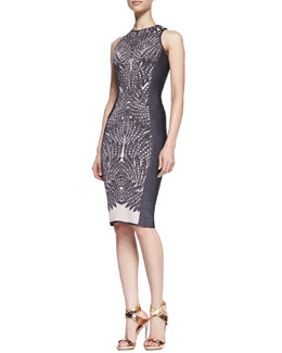 Herve Leger Feather-Print Sleeveless Banded Dress