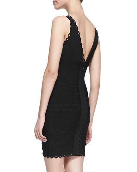 V-Neck Scalloped Sleeveless Dress