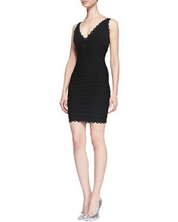 Herve Leger V-Neck Scalloped Sleeveless Dress