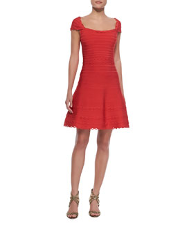Herve Leger Cap Sleeve Scalloped Dress, Coral Poppy