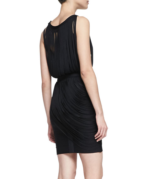 Boat-Neck Draped Fringe Dress