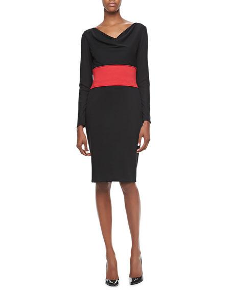 Long-Sleeve Cowl-Neck Banded-Waist Dress