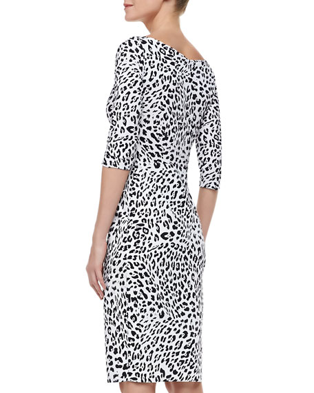 3/4-Sleeve Leopard-Print Cocktail Dress