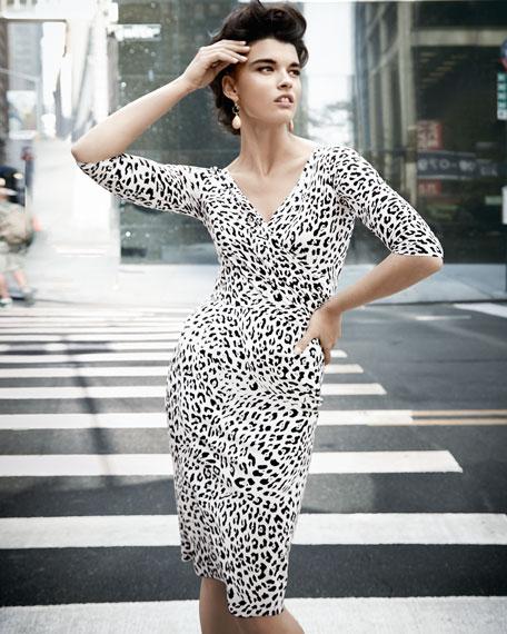 3/4-Sleeve Leopard-Print Cocktail Dress