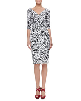 La Petite Robe di Chiara Boni 3/4-Sleeve Leopard-Print Cocktail Dress
